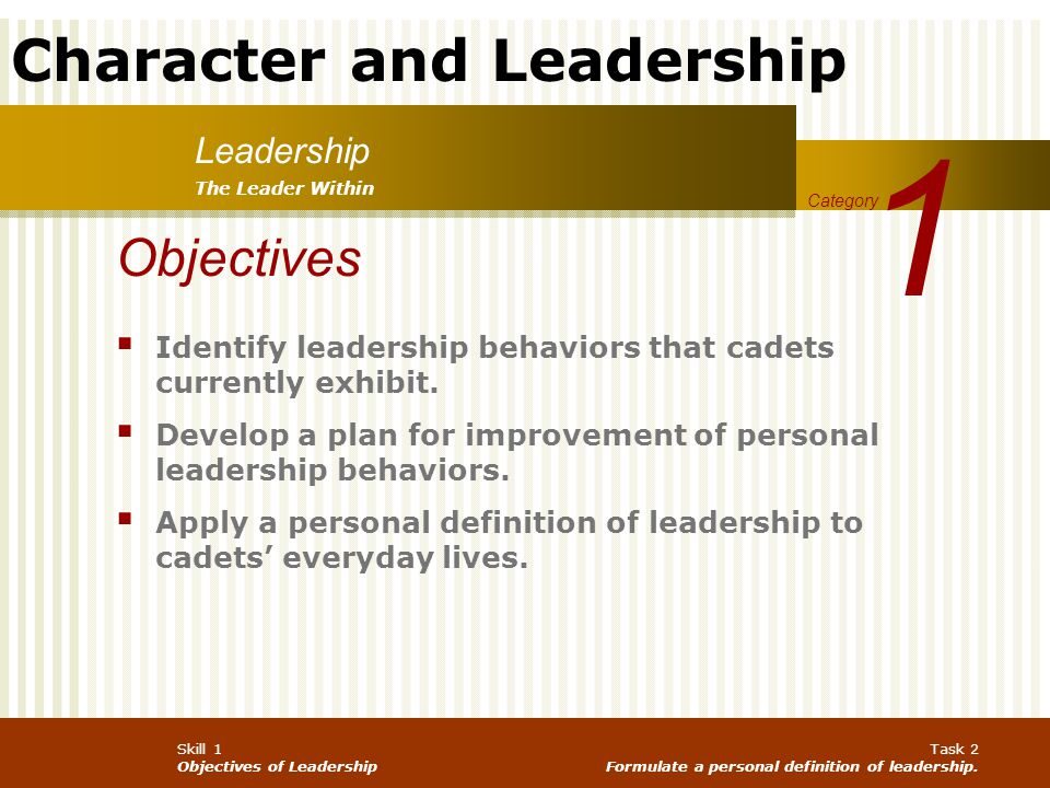 1 Objectives Leadership