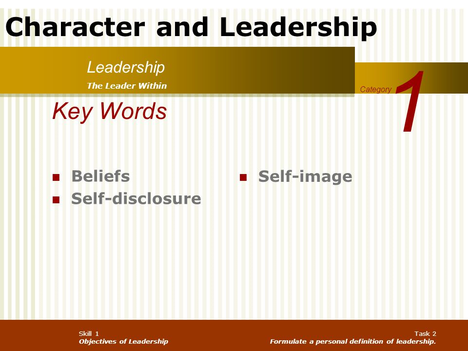 1 Key Words Leadership Beliefs Self-image Self-disclosure