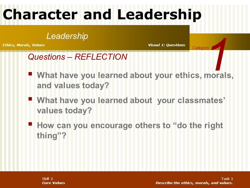 1 Leadership Questions – REFLECTION