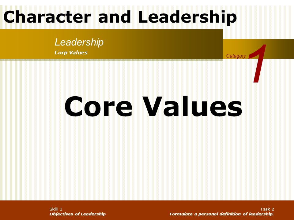1 Core Values Leadership Corp Values Category
