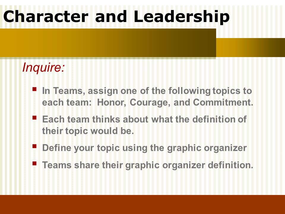 Inquire: In Teams, assign one of the following topics to each team: Honor, Courage, and Commitment.