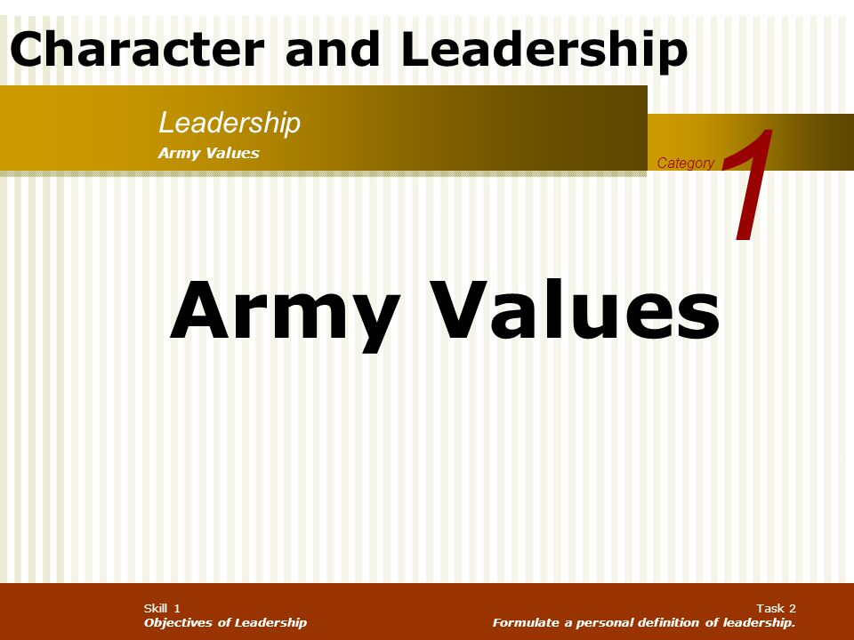 1 Army Values Leadership Army Values Category