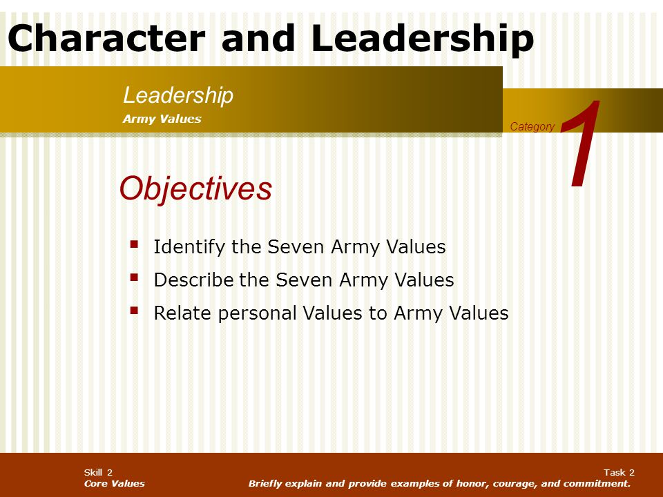1 Objectives Leadership Identify the Seven Army Values
