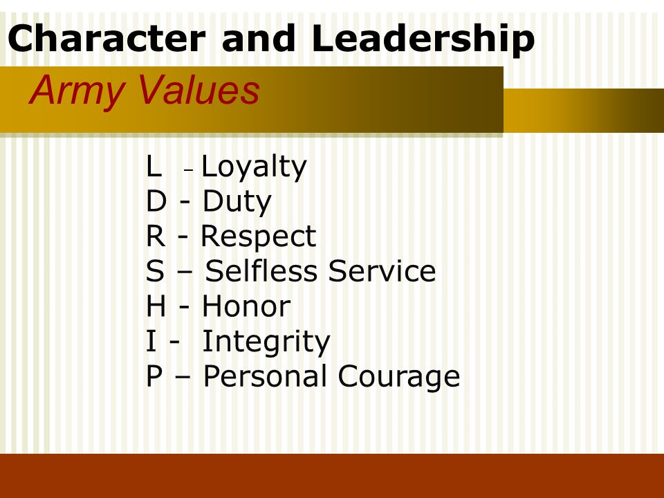 Army Values L – Loyalty D - Duty R - Respect S – Selfless Service