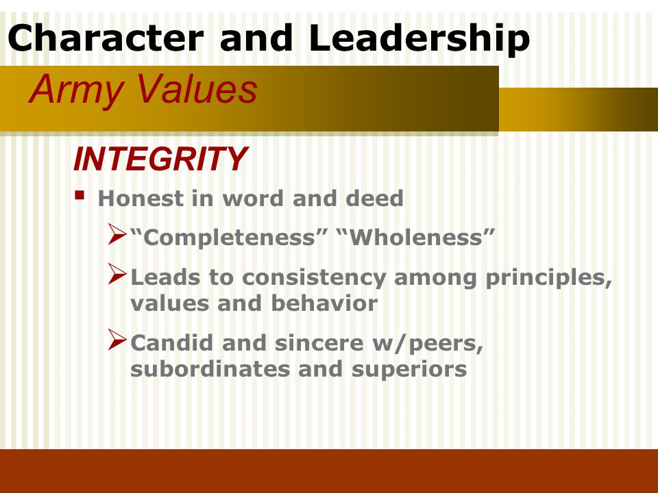 Army Values INTEGRITY Honest in word and deed