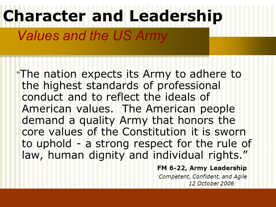 Values and the US Army