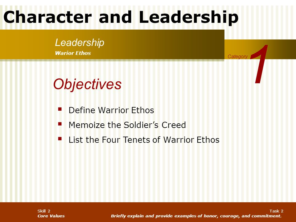 1 Objectives Leadership Define Warrior Ethos