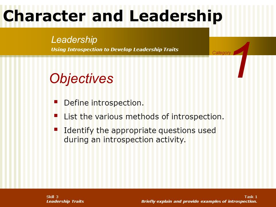 1 Objectives Leadership Define introspection.