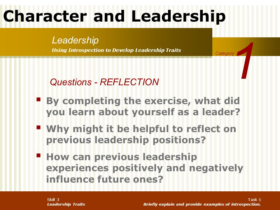 1 Leadership Questions - REFLECTION