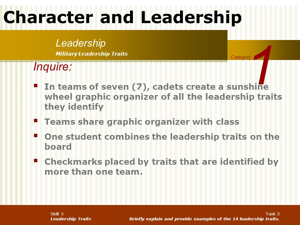 1 Leadership. Military Leadership Traits. Category. Inquire: