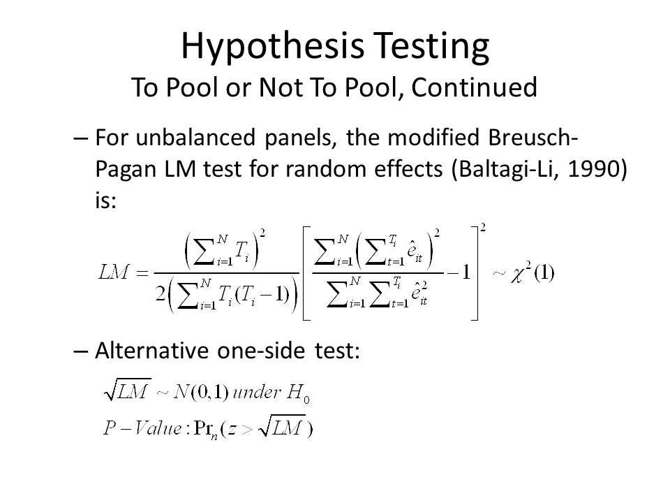 Hypothesis Testing To Pool or Not To Pool, Continued