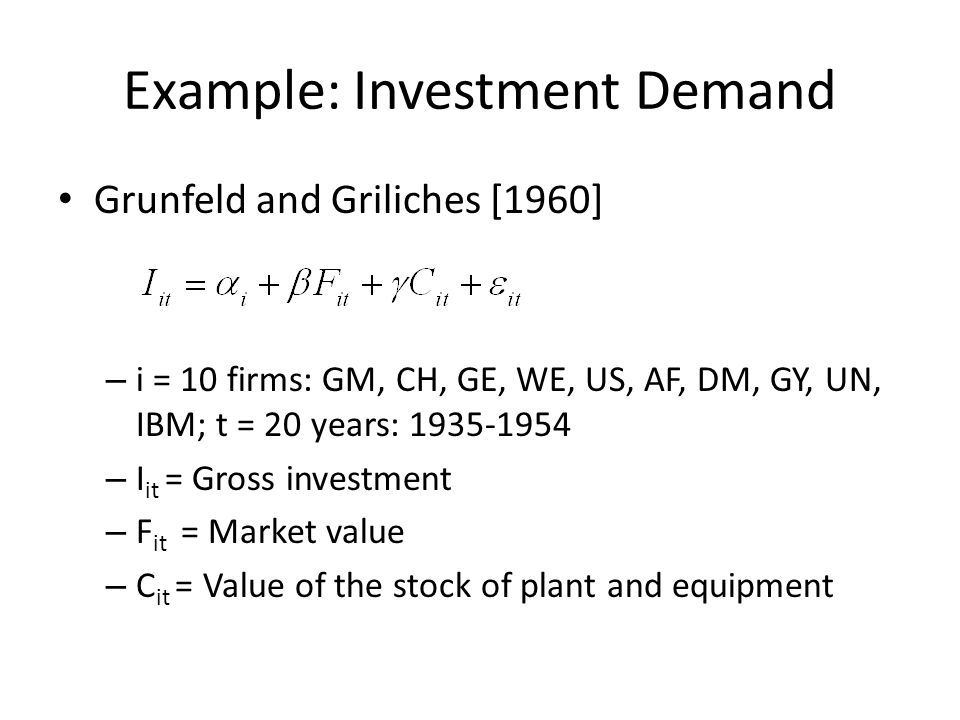 Example: Investment Demand