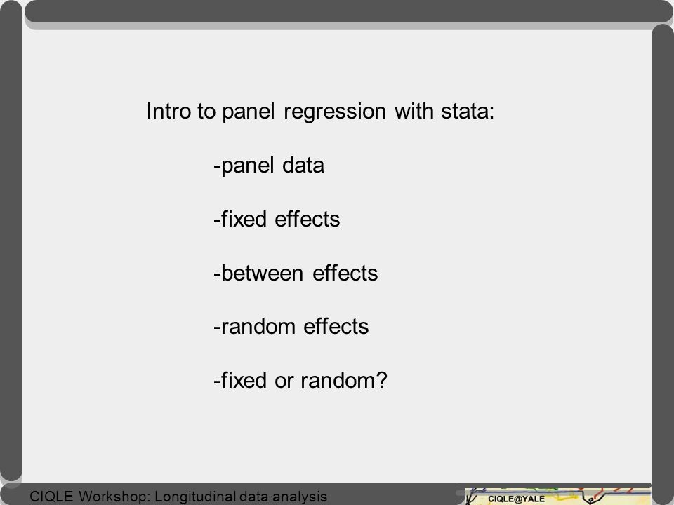 Intro to panel regression with stata: