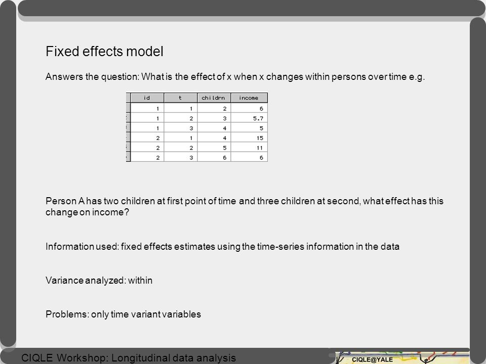 Fixed effects model Answers the question: What is the effect of x when x changes within persons over time e.g.