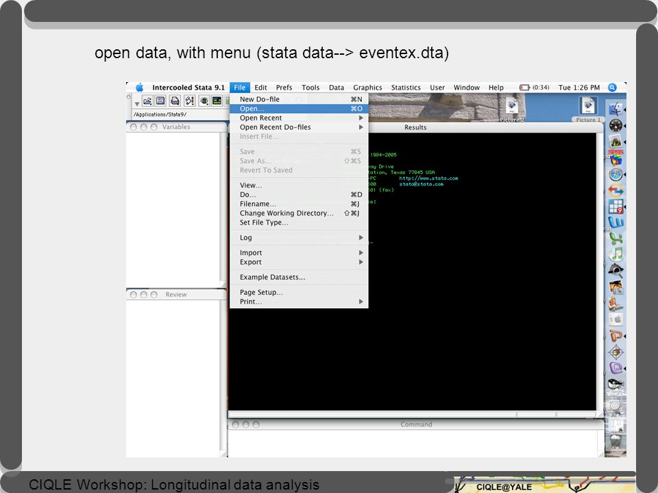 open data, with menu (stata data--> eventex.dta)