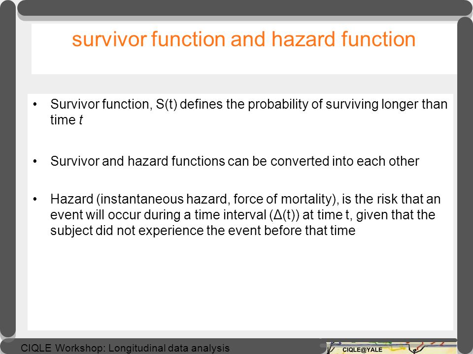 survivor function and hazard function