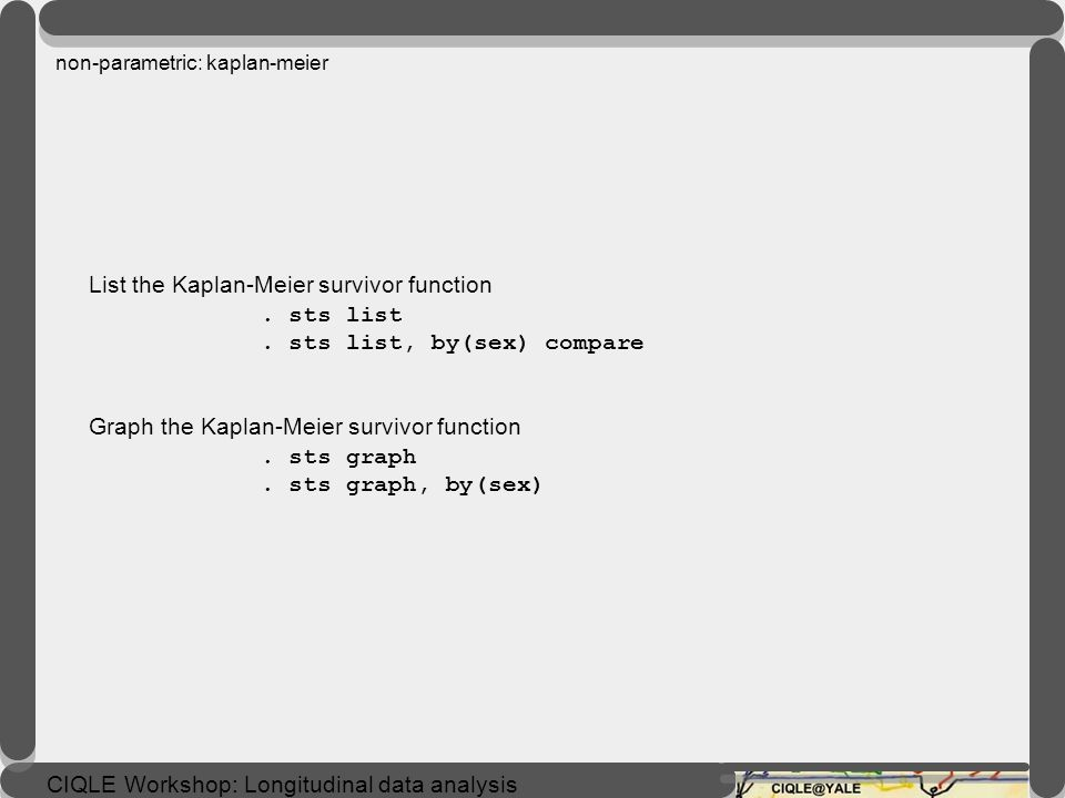 non-parametric: kaplan-meier