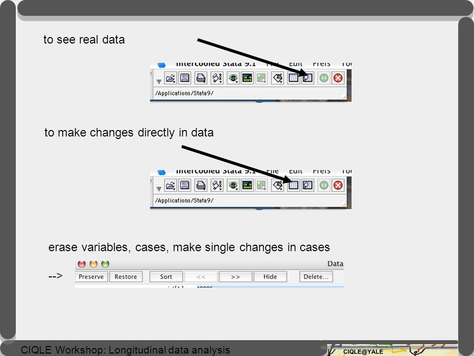 to see real data to make changes directly in data. erase variables, cases, make single changes in cases.