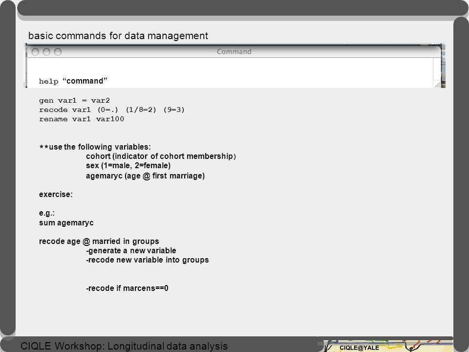 basic commands for data management