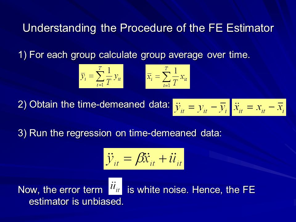 Understanding the Procedure of the FE Estimator