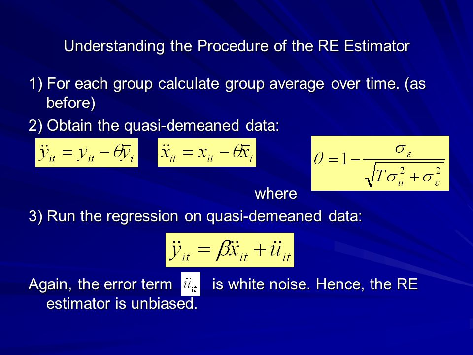 Understanding the Procedure of the RE Estimator