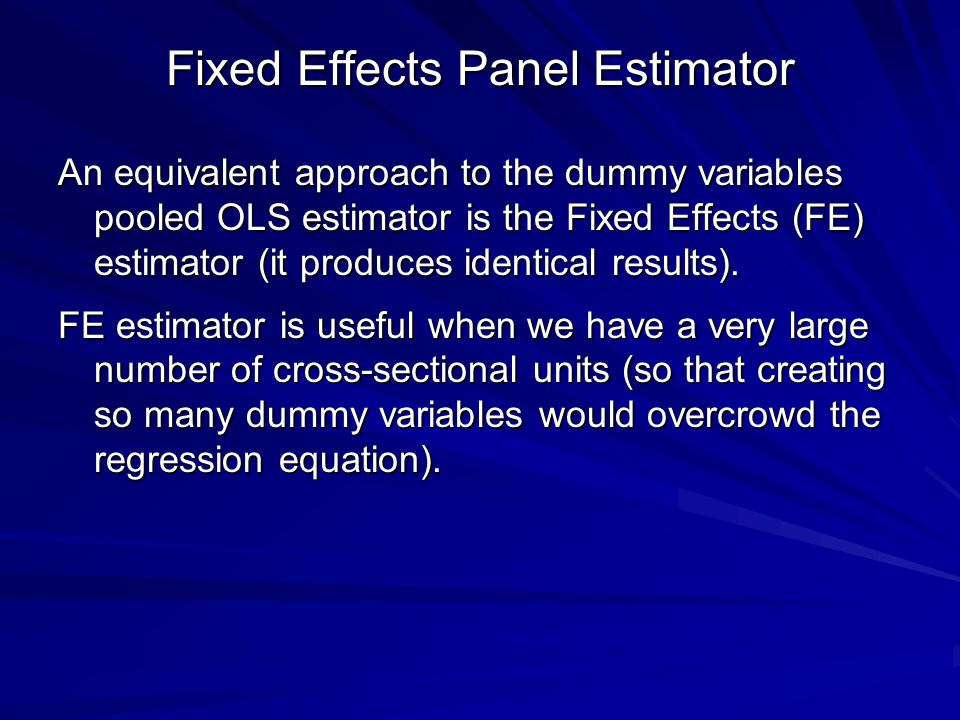 Fixed Effects Panel Estimator
