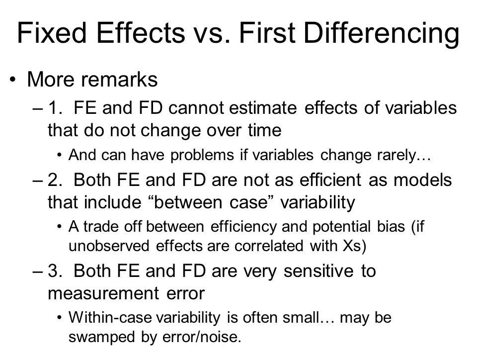 Fixed Effects vs. First Differencing