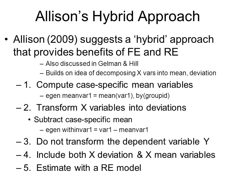 Allison's Hybrid Approach