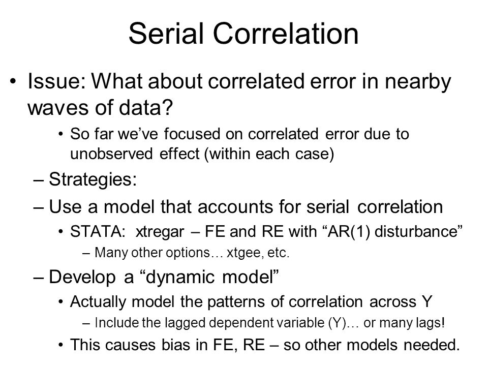 Serial Correlation Issue: What about correlated error in nearby waves of data
