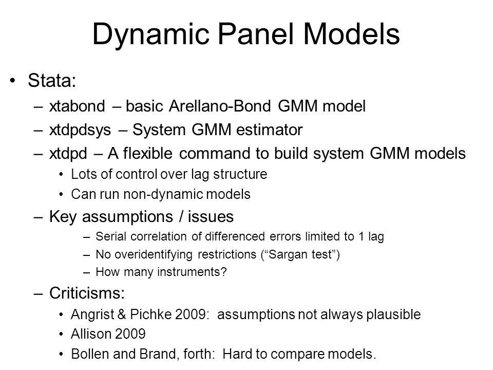 Dynamic Panel Models Stata: xtabond – basic Arellano-Bond GMM model