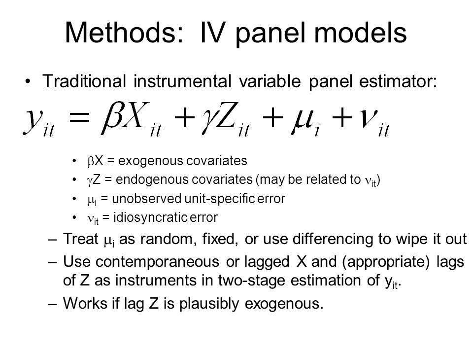 Methods: IV panel models