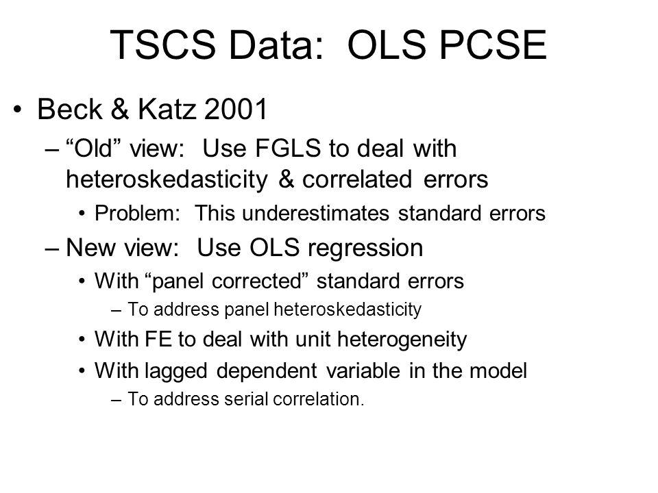 TSCS Data: OLS PCSE Beck & Katz 2001