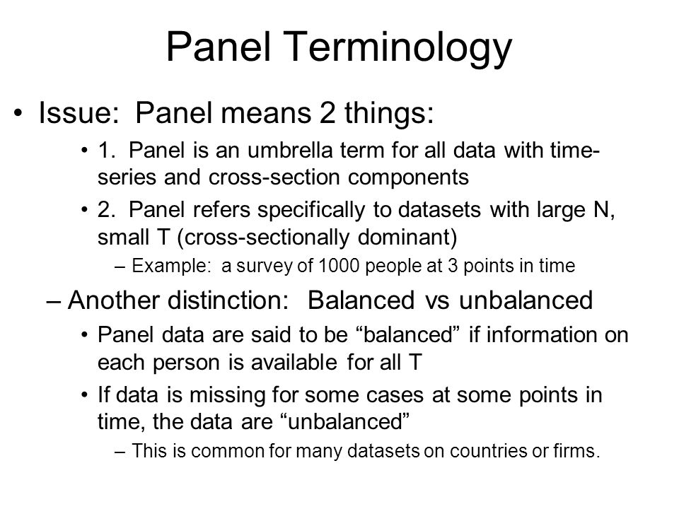 Panel Terminology Issue: Panel means 2 things: