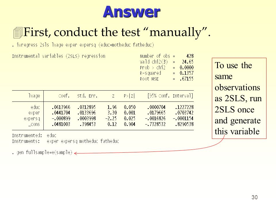 Answer First, conduct the test manually .
