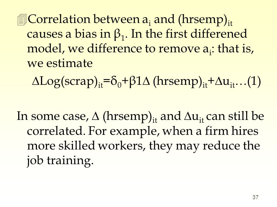Correlation between ai and (hrsemp)it causes a bias in β1