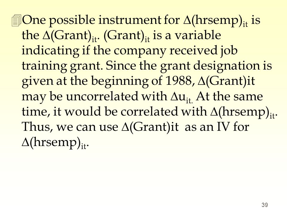 One possible instrument for ∆(hrsemp)it is the ∆(Grant)it