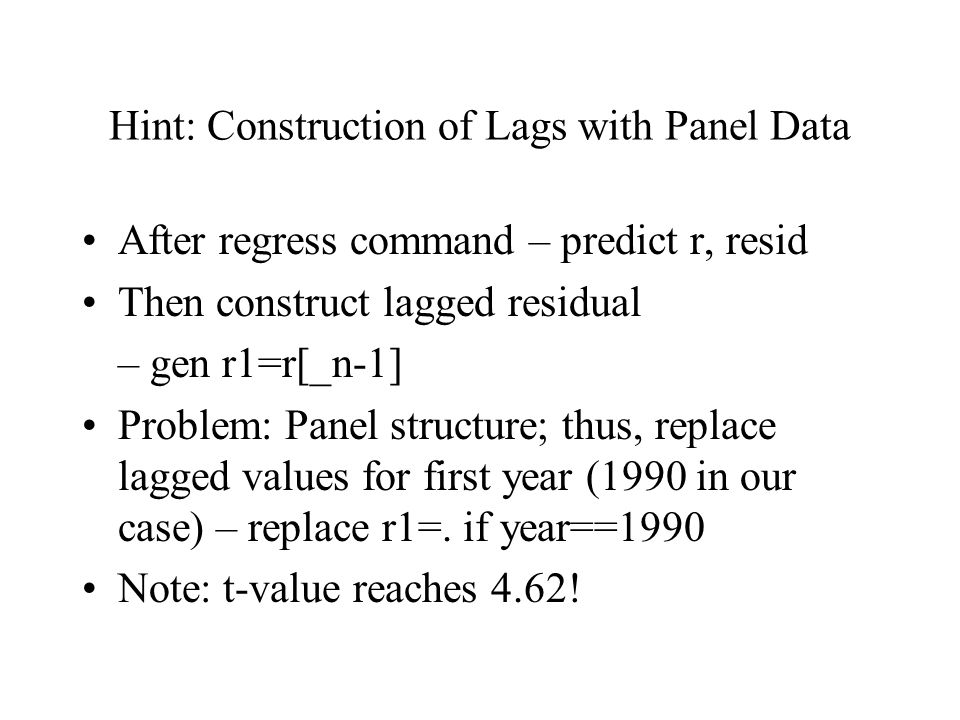 Hint: Construction of Lags with Panel Data