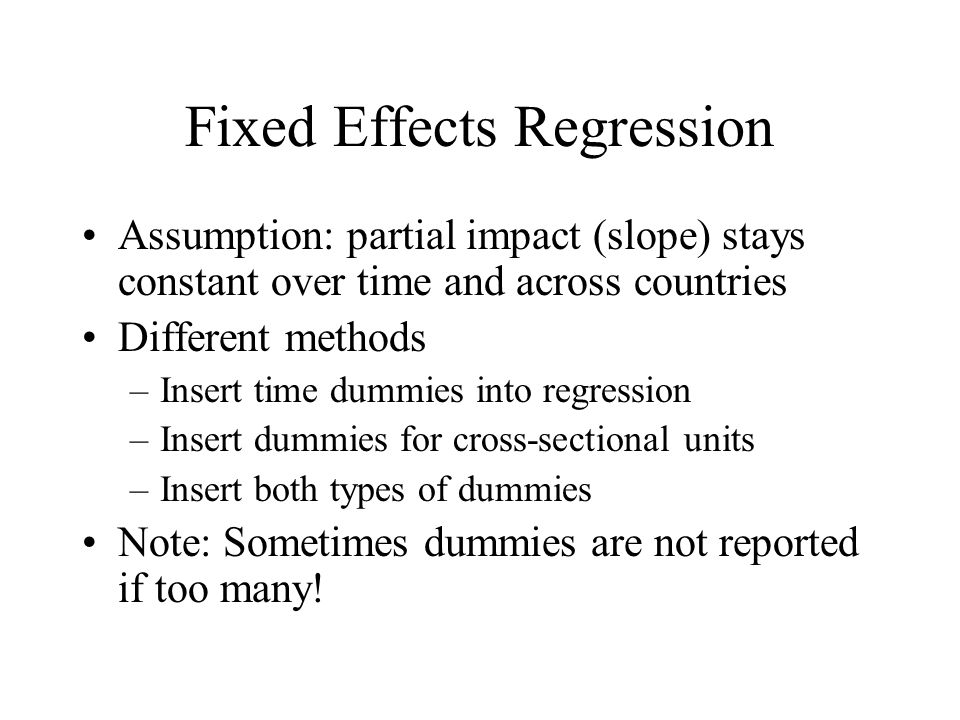 Fixed Effects Regression