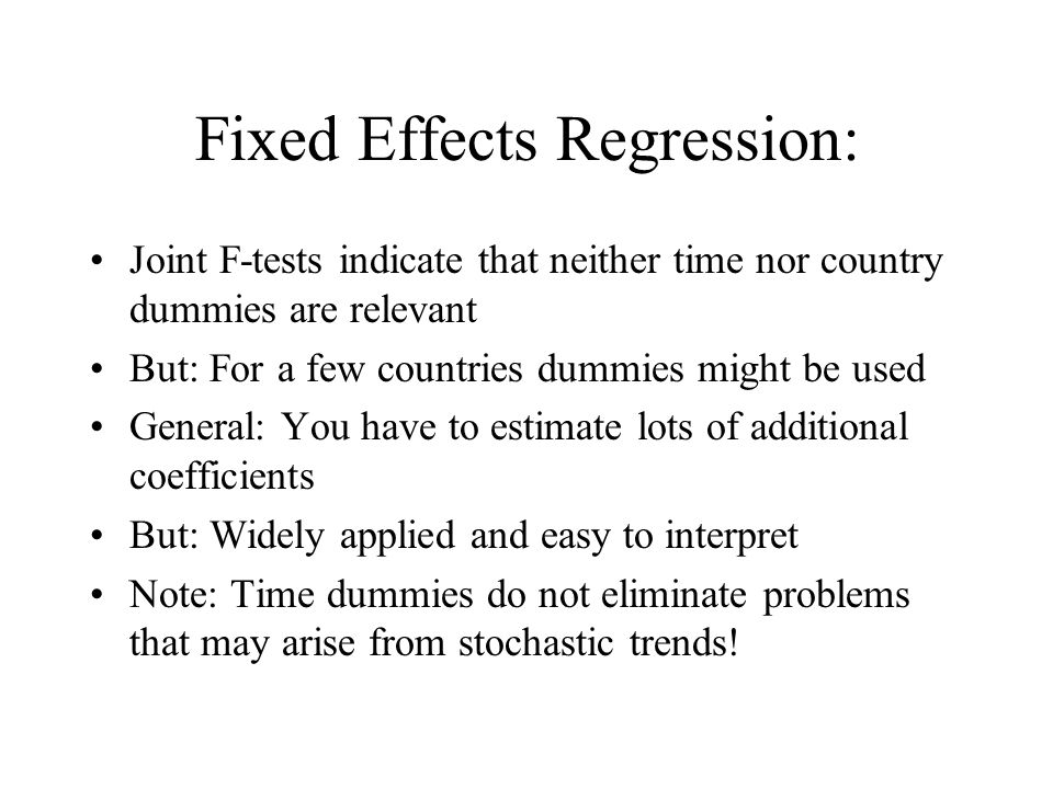 Fixed Effects Regression: