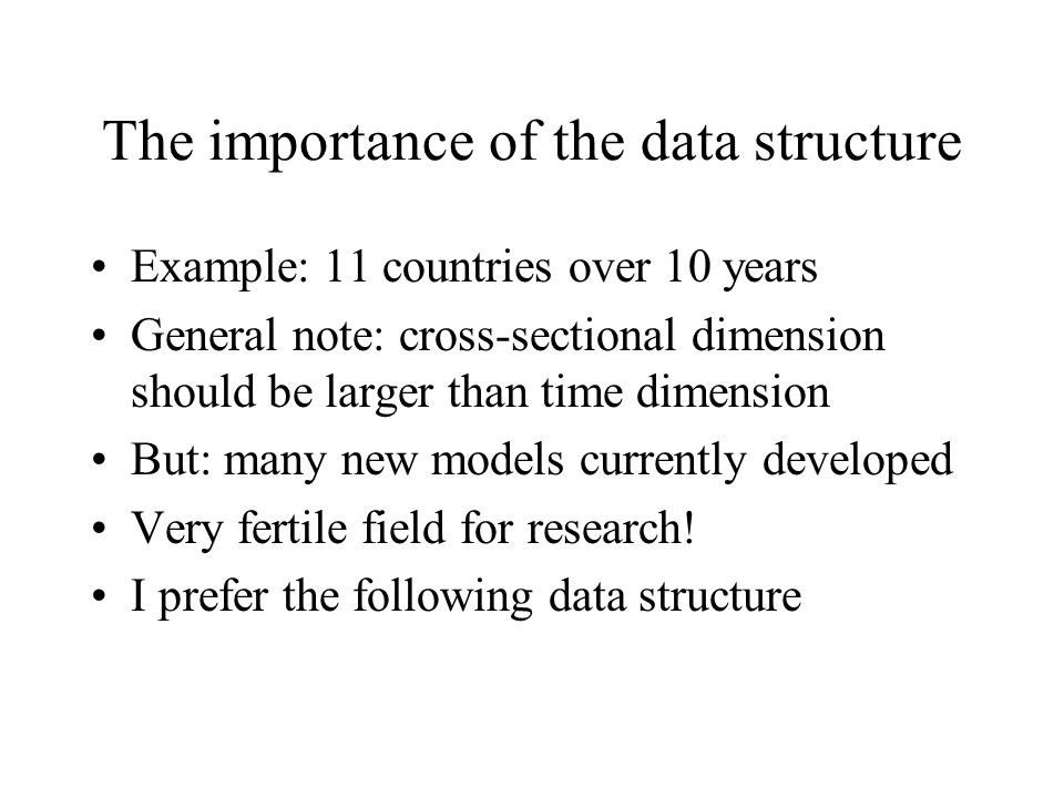 The importance of the data structure