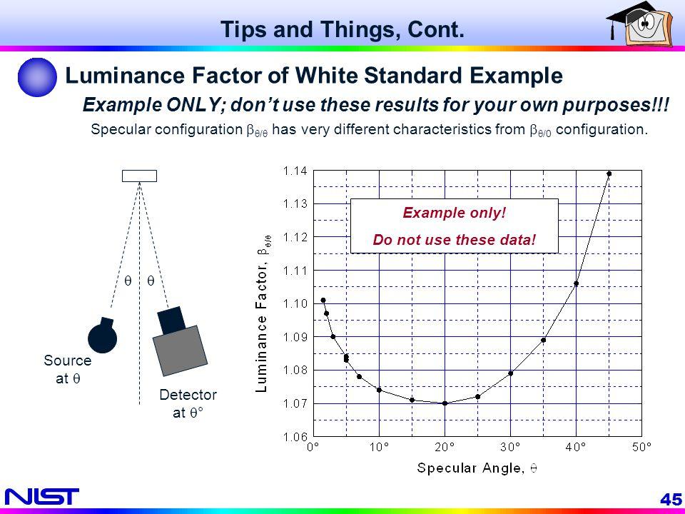 Luminance Factor of White Standard Example