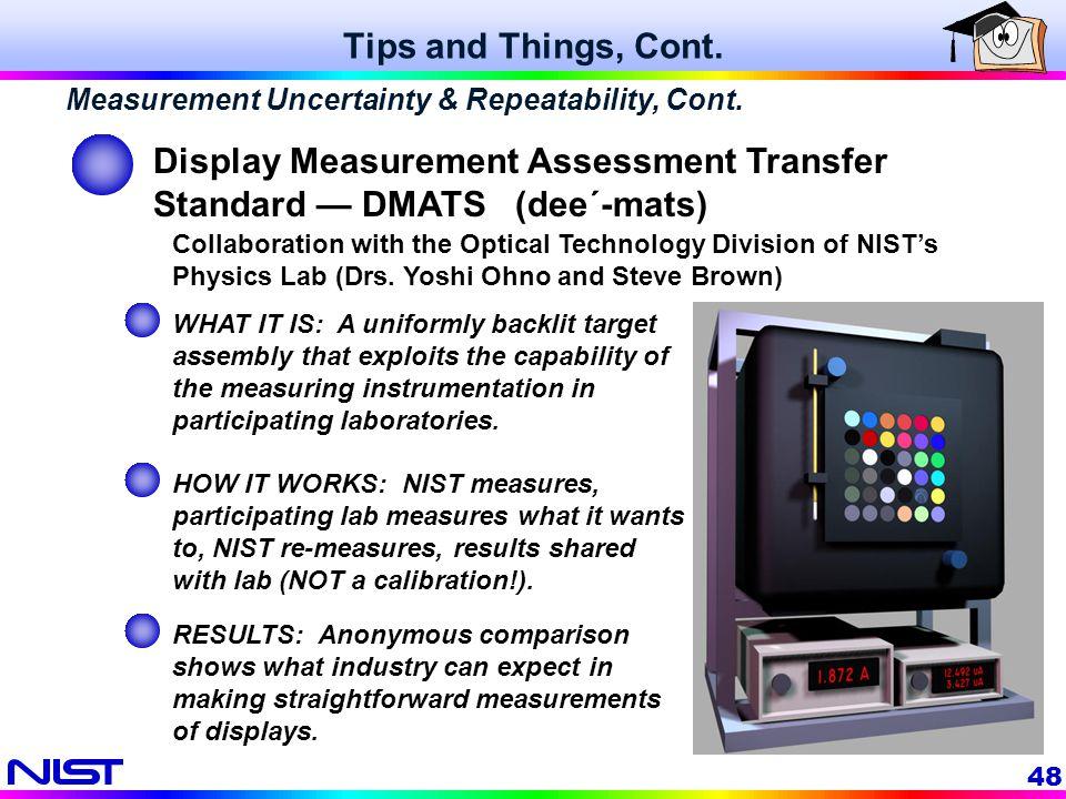Display Measurement Assessment Transfer Standard — DMATS (dee´-mats)