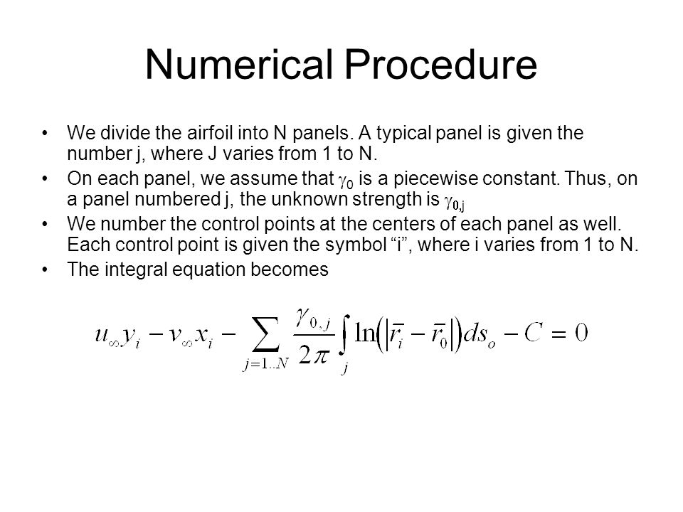 Numerical Procedure We divide the airfoil into N panels. A typical panel is given the number j, where J varies from 1 to N.