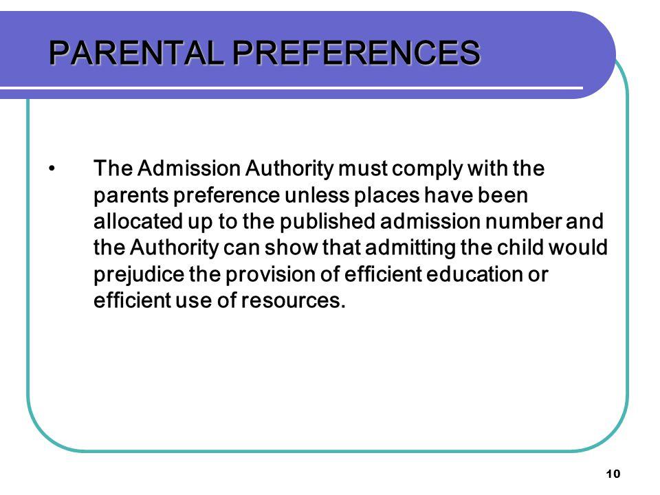 PARENTAL PREFERENCES