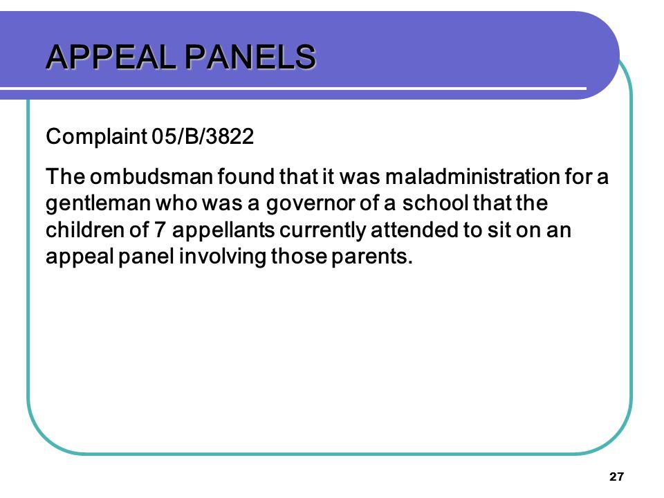 APPEAL PANELS Complaint 05/B/3822