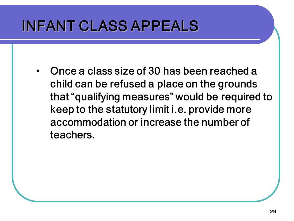 INFANT CLASS APPEALS