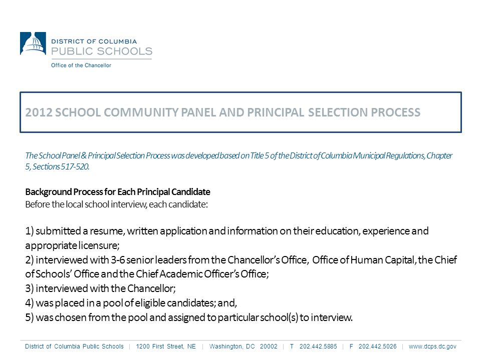 2012 SCHOOL COMMUNITY PANEL AND PRINCIPAL SELECTION PROCESS