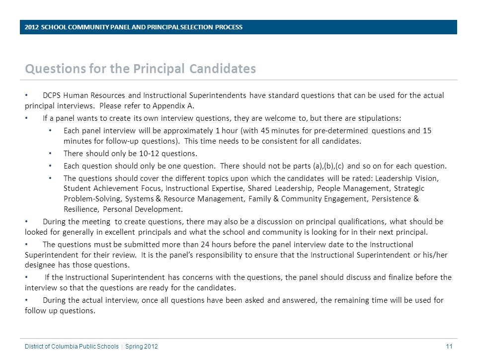 Questions for the Principal Candidates