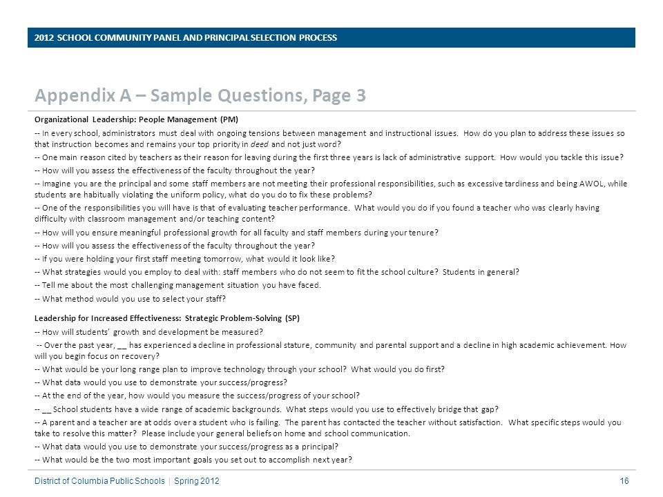 Appendix A – Sample Questions, Page 3