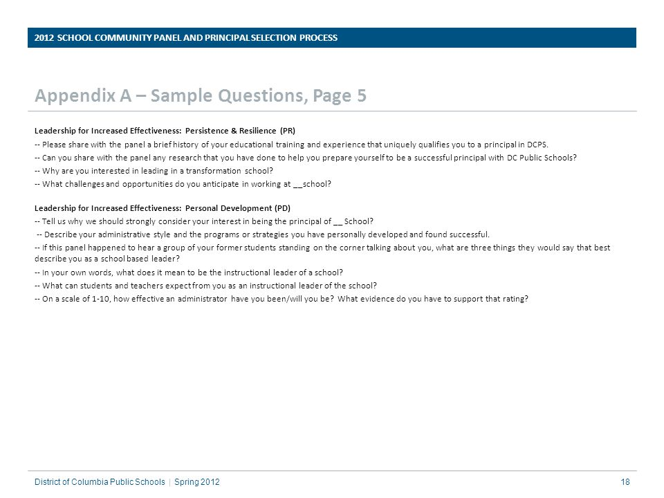 Appendix A – Sample Questions, Page 5